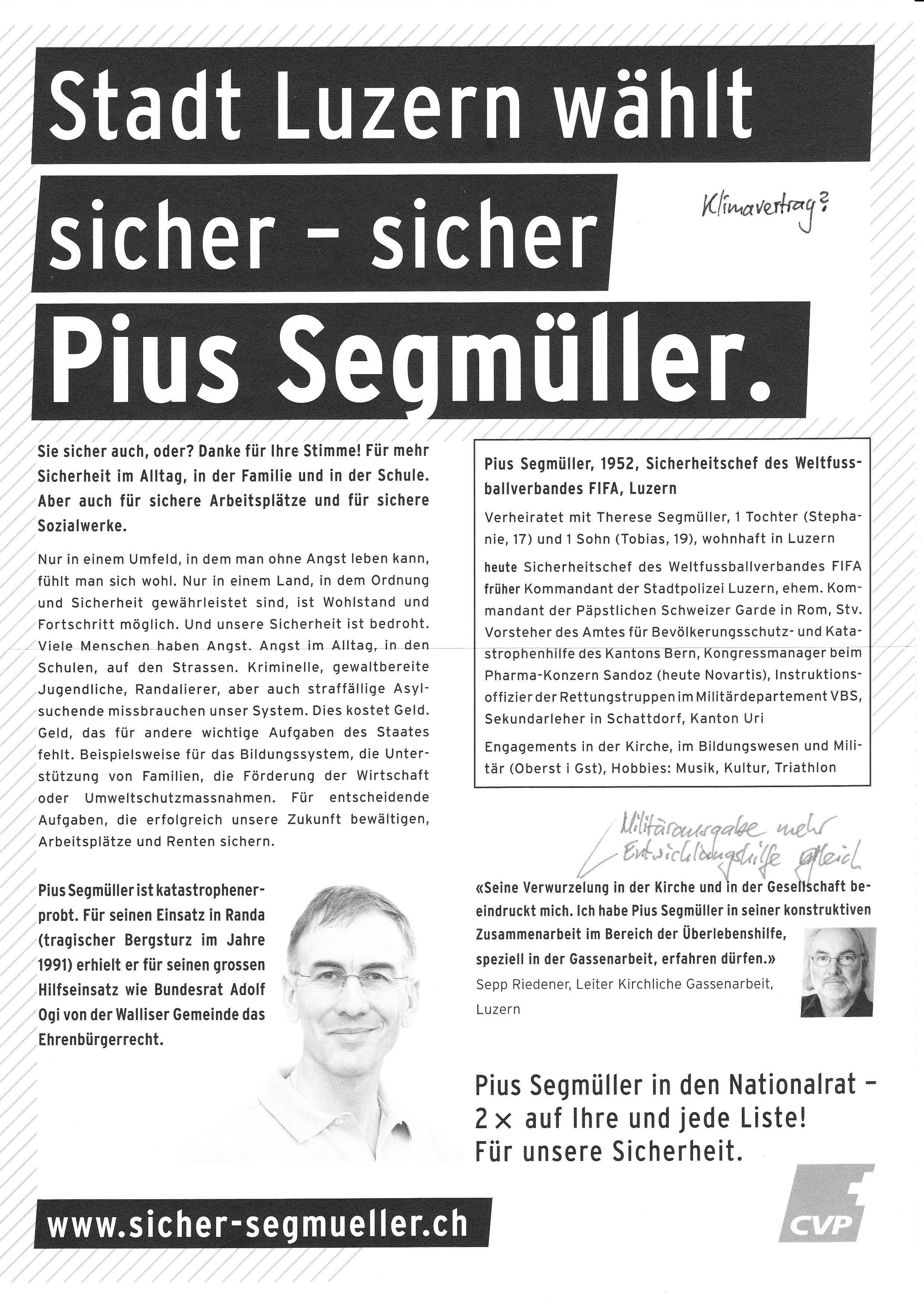 Flugblatt von Pius Segmüller